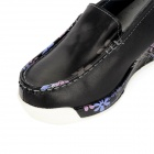 Fashion Cowhide Rubber Wedge Heel Leisure Shoes for Women - Black (Size 37)