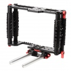Kamerar DSLR Camera Cage Bracket Support w/ Rods for Canon EOS 5D / 7D Series - Black + Silver + Red
