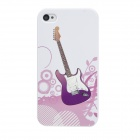 Colorfilm Guitar Pattern Plastic Back Case for Iphone 4 / 4S - White + Purple