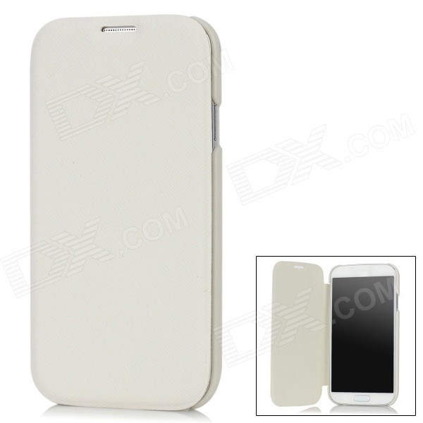 Protective PC Case w/ PU Leather Cover for Samsung Galaxy S4 i9500 - White protective ultra thin back case for samsung galaxy s4 i9500 white