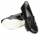 Fashion Cowhide Rubber Wedge Heel Leisure Shoes for Women - Black (Size 39)