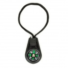 Portable Mini Analog Compass w/ Strap - Black