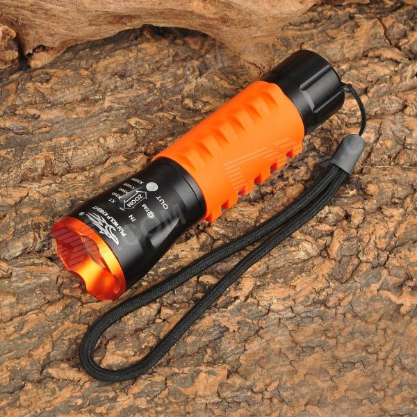 L11 200lm 3-Mode White Zooming Flashlight w/ Cree XR-E Q5 - Black + Orange (3 x AAA)