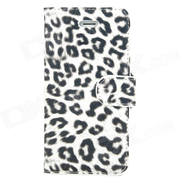 Stylish Protective Leopard Print Pattern PU Leather Case for Iphone 5 - White + Black stylish protective pu leather case for iphone 5c white transparent black
