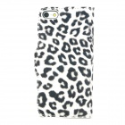 Stylish Protective Leopard Print Pattern PU Leather Case for Iphone 5 - White + Black