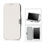 Protective PU Leather + Plastic Flip-Open Case for Samsung Galaxy S4 / i9500 - White + Black