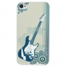 Colorfilm Guitar Pattern Plastic Back Case for Iphone 4 / 4S - White + Green