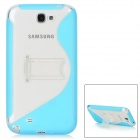 Protective S Style TPU Back Case w/ Stand for Samsung Galaxy Note 2 N7100 - Light Blue + Transparent