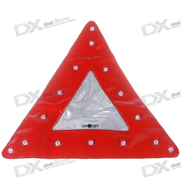 All-Weather 15-LED 2-Mode Flashing Road-side Safety Triangle and Emergency Warning Light (2*AAA)