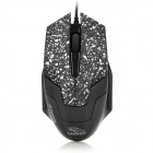 RH-2100 Wired USB 2.0 3200dpi Optical Glow Engine Gaming Mouse - Black + White (140cm-Cable)