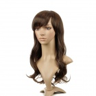Long Anime Curly Hair Wig Oblique Bangs Wig - Light Brown