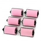 XF-9988 Women's Sponge Hair Divider Curled Hair Roller - Pink + Black (6PCS)