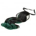 Fashion Long Curly Gradient Hair Wig - Green + Black
