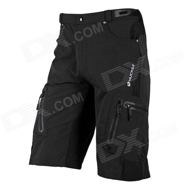 NUCKILY NS357 Outdoor Cycling Man's Quick Dry Nylon + Elastic Fiber Short Pants - Black (Size L) nuckily men s quick dry wear resisting suspender cycling bib braces pants black size m