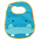 Cute Hippo Pattern Baby Water-Resistant Saliva Towel - Blue + Yellow
