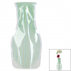 Creative Stripe Pattern Foldable PVC Vase - Blue + Green + Translucent (Size L)