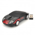 Sports Car Style 2.4GHz USB 2.0 1600dpi Wireless Optical Mouse - Black + Red