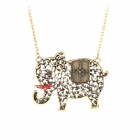Hollow-Out Elephant Shape Copper Alloy Pedant Necklace for Lady - Bronze