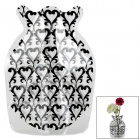 Romantic Heart Pattern Foldable PVC Vase - Black+ Translucent (Size S)