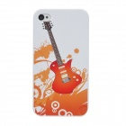 Colorfilm Guitar Style Plastic Back Case for Iphone 4 / 4S - White + Orange