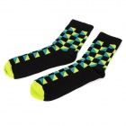 Grid Pattern Casual Man's Cotton + Polyamide Fiber Socks - Black + Green + Blue (Pair / Free Size)