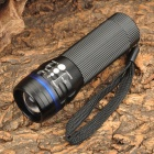 SENLINHU SLH-H606 3W 80lm 1200mA 3-Mode White Light Signal Flashlight - Black + Blue (3 x AAA)