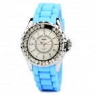 SKMEI 0991 Stylish Retro Women's Silicone Band Round Dial Quartz Analog Wrist Watch - Blue + Silver