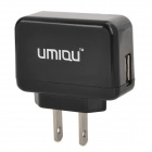 UMIQU T502 AC Power Adapter + Micro USB to USB Charging Cable Set - Black (2-Flat-Pin Plug)
