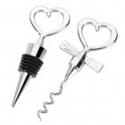 Creative Love Style Red Wine Bottle Opener Set Wedding Gifts - Silver
