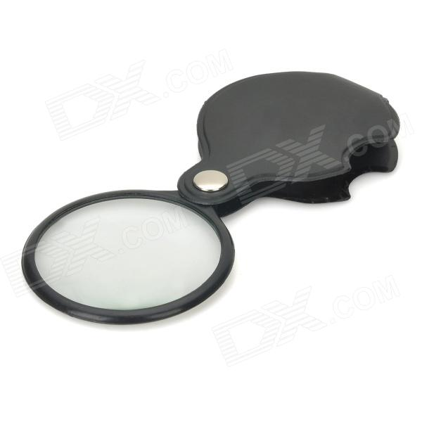 MG85034 Pocket 6X Coating Optical Lens Magnifier w/ Rotatable PU Leather Cover - Black + Transparent