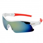 SENLAN Fashion Revo Blue PC Lens UV400 Protection Sports Cycling Sunglasses - White + Red