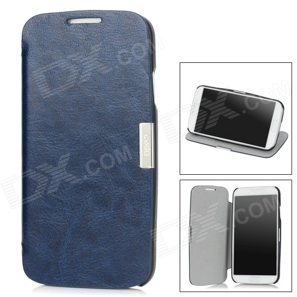 Protective PU Leather Case w/ Holder for Samsung i9500 / Galaxy S4 - Sapphire Blue dynamic 3d skull pattern protective back case for samsung galaxy s4 i9500 black