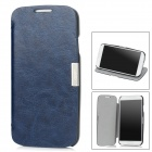 Protective PU Leather Case w/ Holder for Samsung i9500 / Galaxy S4 - Sapphire Blue