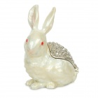 YLS228 Cute Rabbit Shape CZ Rhinestone Jewel Case / Jewelry Box - White + Silver