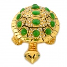 YLS684 Fashionable Rhinestone Decoration Cute Tortoise Shape Cat's Eyes Jewel Case - Golden + Green