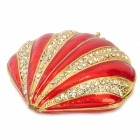 YLS152 Modische Strass Dekoration Shell Form Jewel Case - Red + Golden