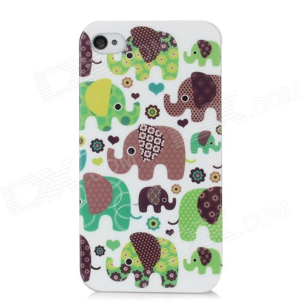 Cute Elephant Pattern Protective PC Back Case for Iphone 4S / 4 - Multicolor
