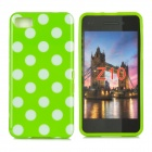 Polka Dot Style Protective Back Case for BlackBerry Z10 - Green + White