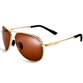 Reedoon 1310 Fashion Sports Cupronickel Alloy Flame Resin Lens Polarized Sunglasses - Brown + Golden