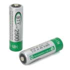 BTY 1.2V 2500mAh Ni-MH Rechargeable AA Battery - Green + Silver (2 PCS)