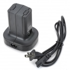 Dual Remote Controller Charger w/ Battery for XBOX360 Wireless Joystick - Black (110~240V)