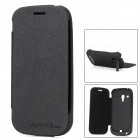 2000mAh Stylish Plastic Power Case w/ PU Leather Cover for Samsung Galaxy S3 Mini i8190 - Black