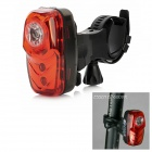 ESSEN EL-600VR 100mA 3-Mode 3-LED Red Laser Bike Bicycle LED Rear Light - Red + Black (2 x AAA)