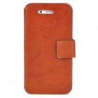 Protective Genuine Leather + Plastic Flip-Open Case for Iphone 4 / 4S - Brown