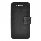 Protective Genuine Leather Flip-Open Case w/ Magnet for Iphone 4 / 4S - Black