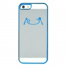 Plate & Fork Pattern Protective ABS Back Case for iPhone 5 - Blue + Transparent White