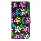 Skull Pattern Protective Artificial Leather Flip-Open Case for iPhone 5 - Black + Blue + Deep Pink