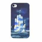 tuoqi L-show Sea Palm Pattern Protective Plastic Back Case for Iphone 4 - Deep Blue