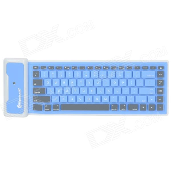 Mini Rechargeable Foldable Waterproof Bluetooth Wireless Silicone Keyboard - Blue + Gray + White