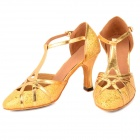 2041 Paillette Latin Dance PU High-Heeled Shoes for Women - Golden (Size-37 / Pair)